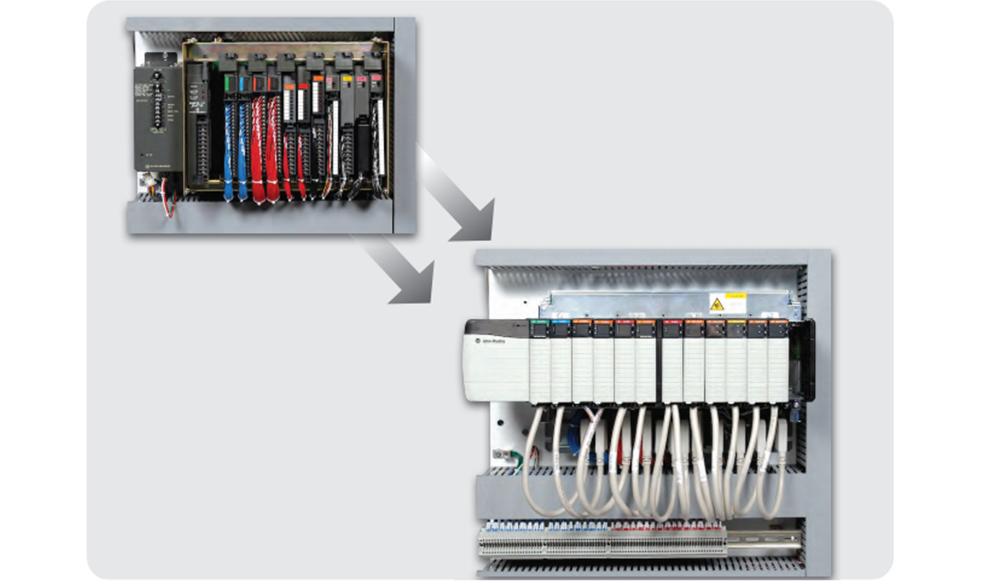 Size comparison of PLC5 vs. ControlLogix