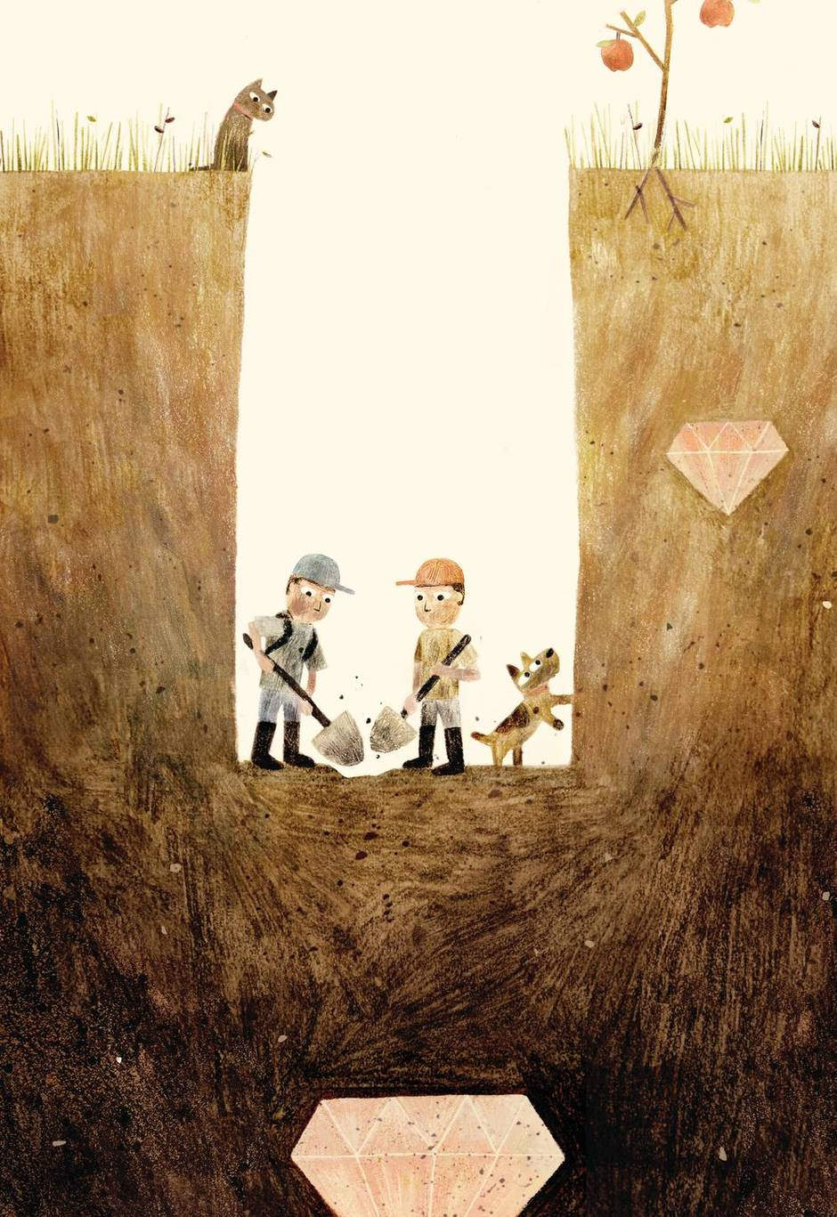 Sam and Dave Dig a Hole. Illustrator: Jon Klassen. Author: Mac Barnett