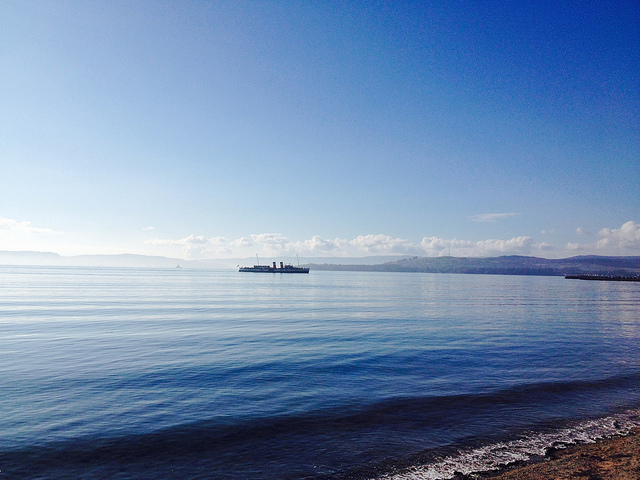 View from Helensburgh across the River Clyde with  the  Waverley , the world's last seagoing paddle steamer , on the water.