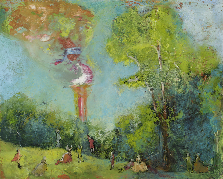 Frolicking and Waiting (Garden Party for the Rapture), 2012   oil on panel, 8 x 10 inches