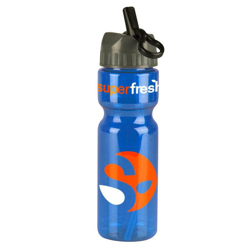 The Olympian -28 oz. Trans. Bottle -Flip Straw Lid