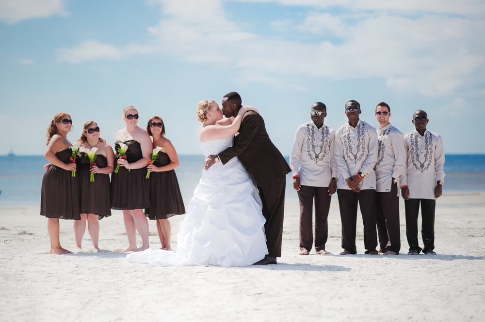 wedding party on florida beach