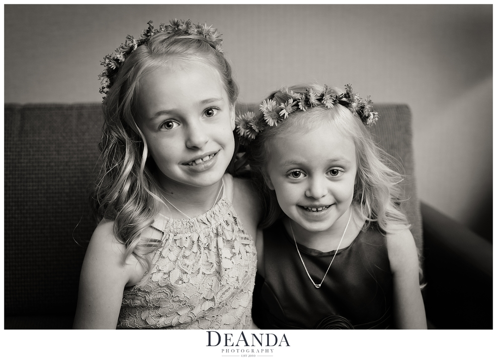 flower girls with flowers in their hair