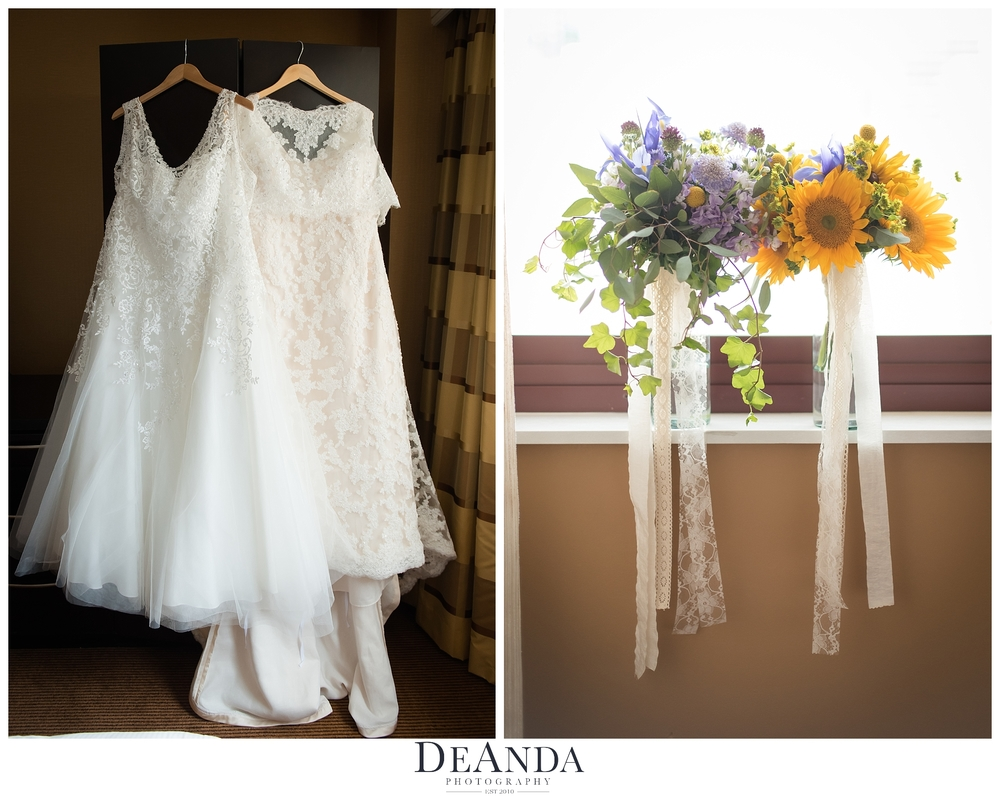 two wedding dresses together