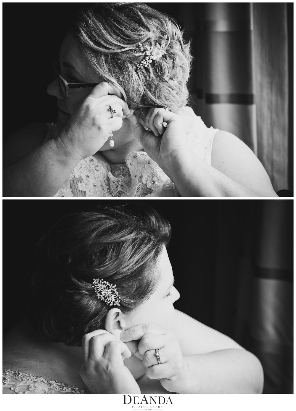 two brides putting on their earings
