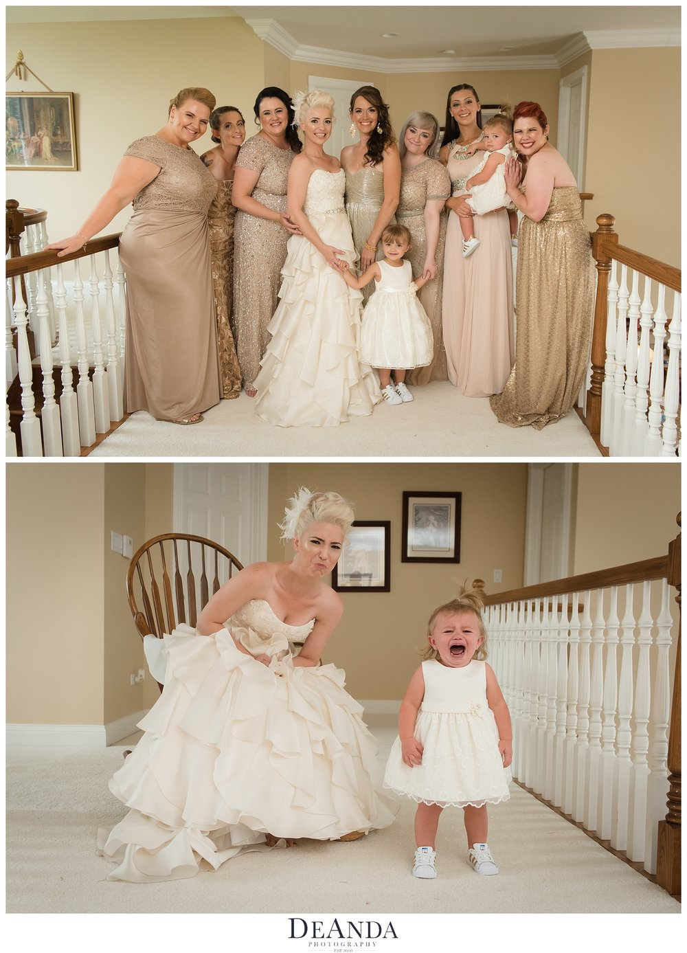 Bridal Party and crying flower girl
