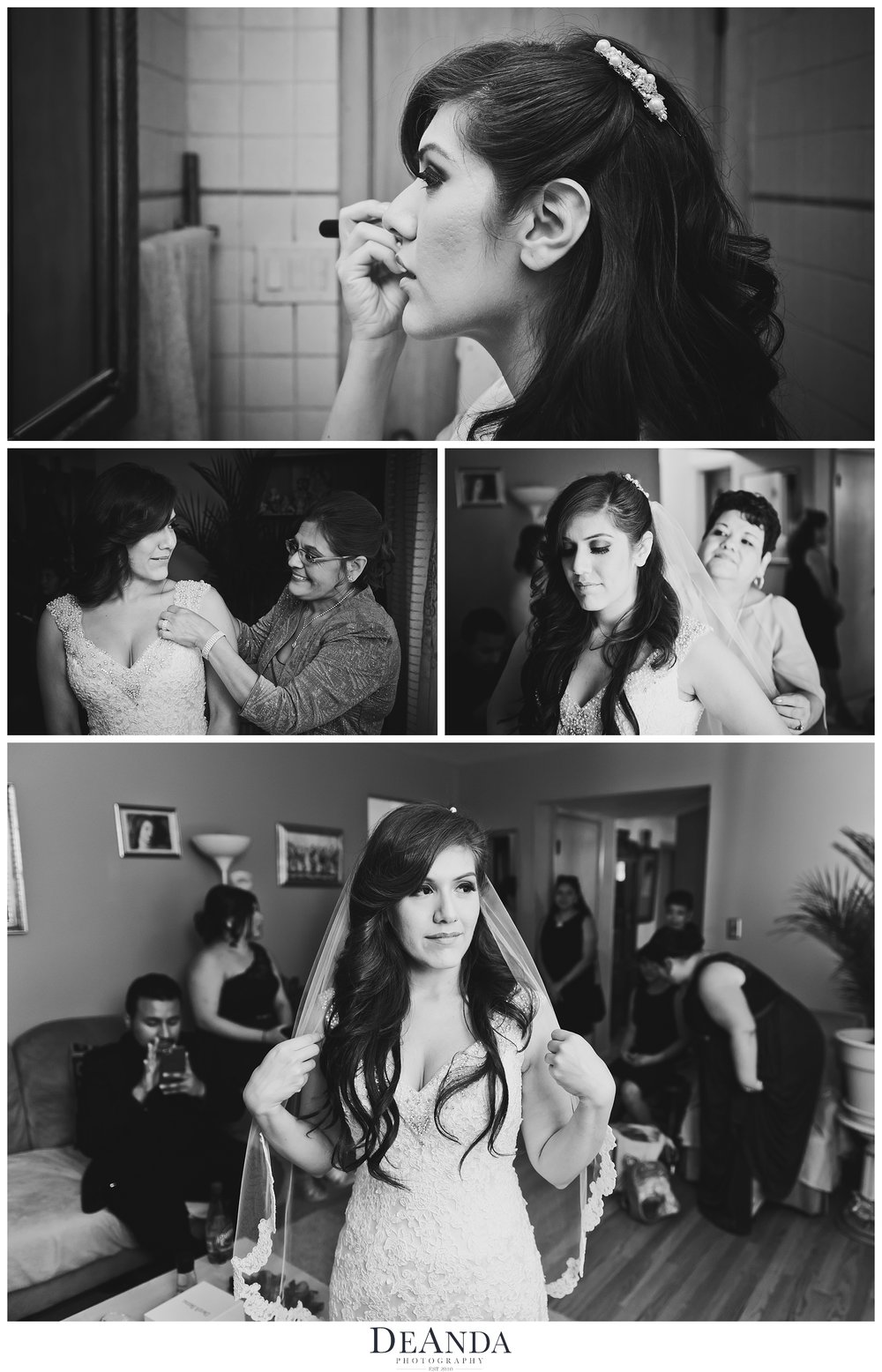 bride getting ready at her home in black and white