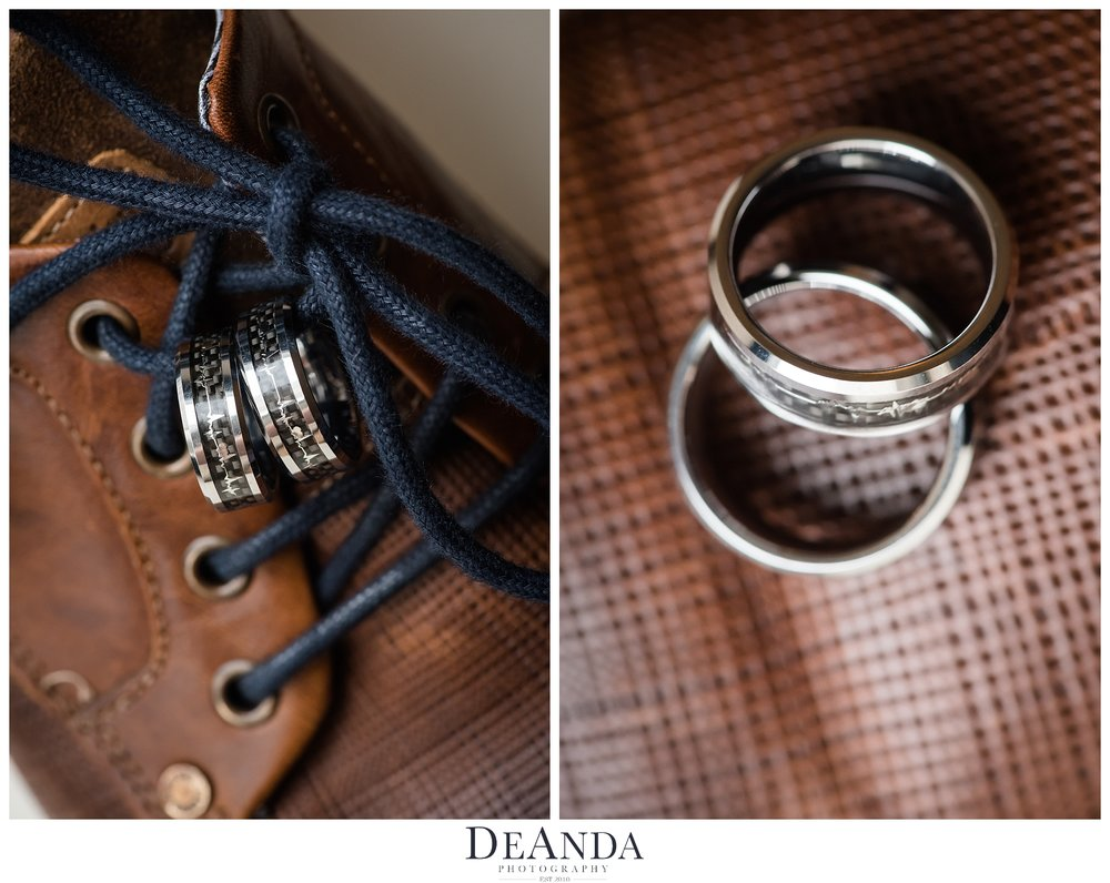 grooms rings together on shoes