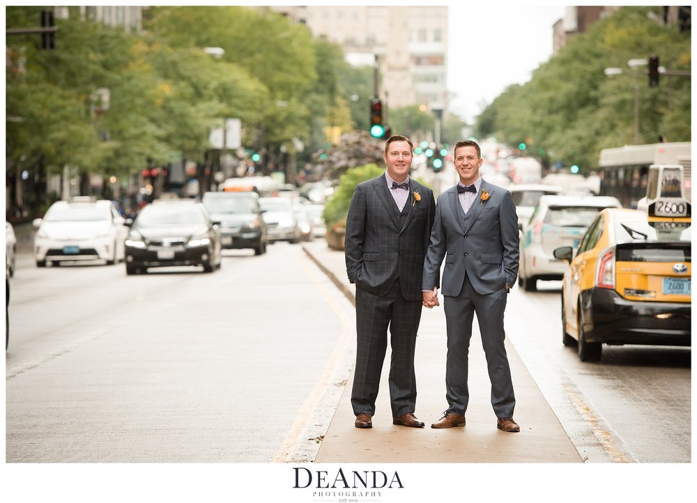 Gay Couple on wedding day in Chicago on median