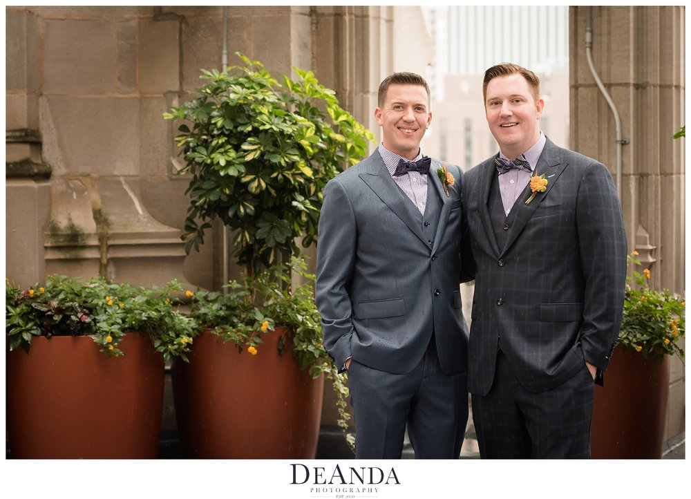 grooms on crown at tribune tower