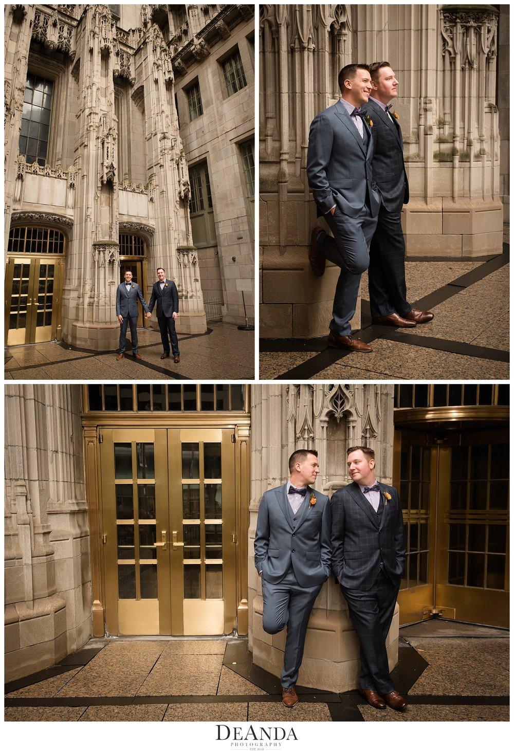 tribune tower groom wedding portraits