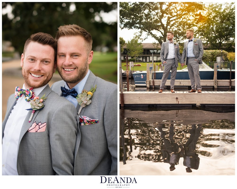 grooms wedding portraits together in lake geneva