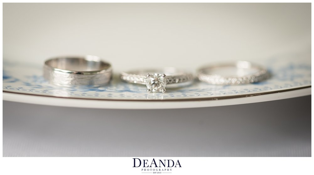 wedding rings on vintage plate