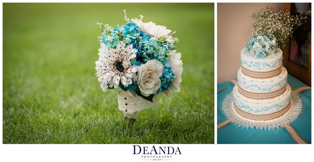 DIY bouquet of fabric flowers and wedding cake
