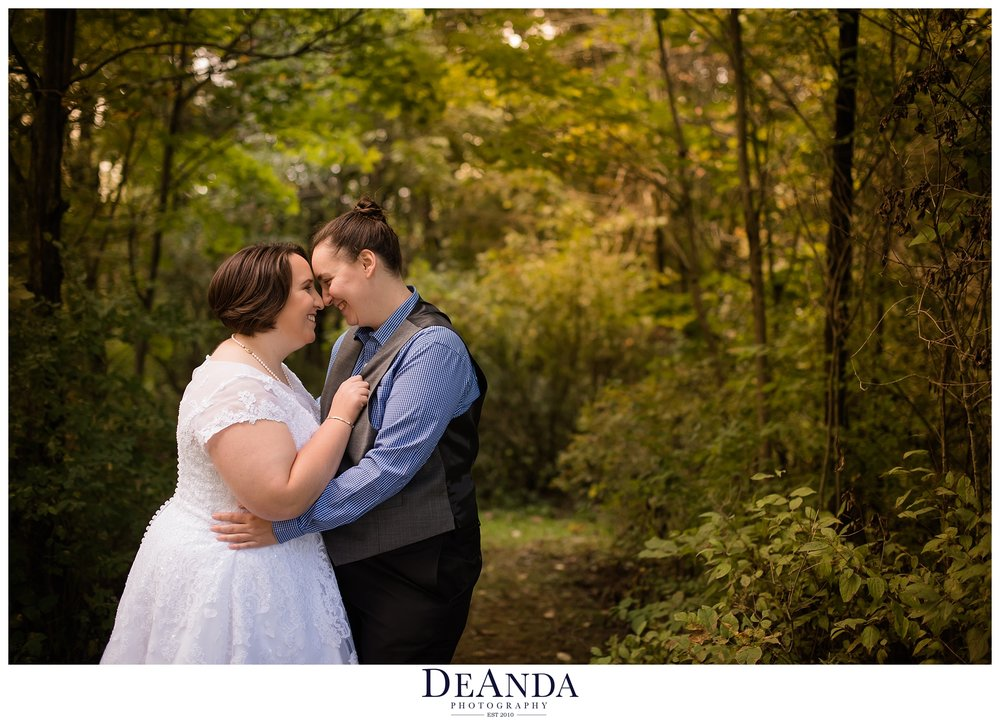 same sex couple wedding photography forest preserve in mokena