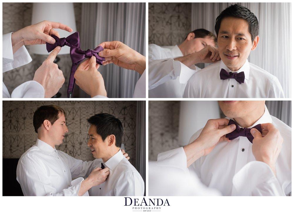 grooms getting on their bowties