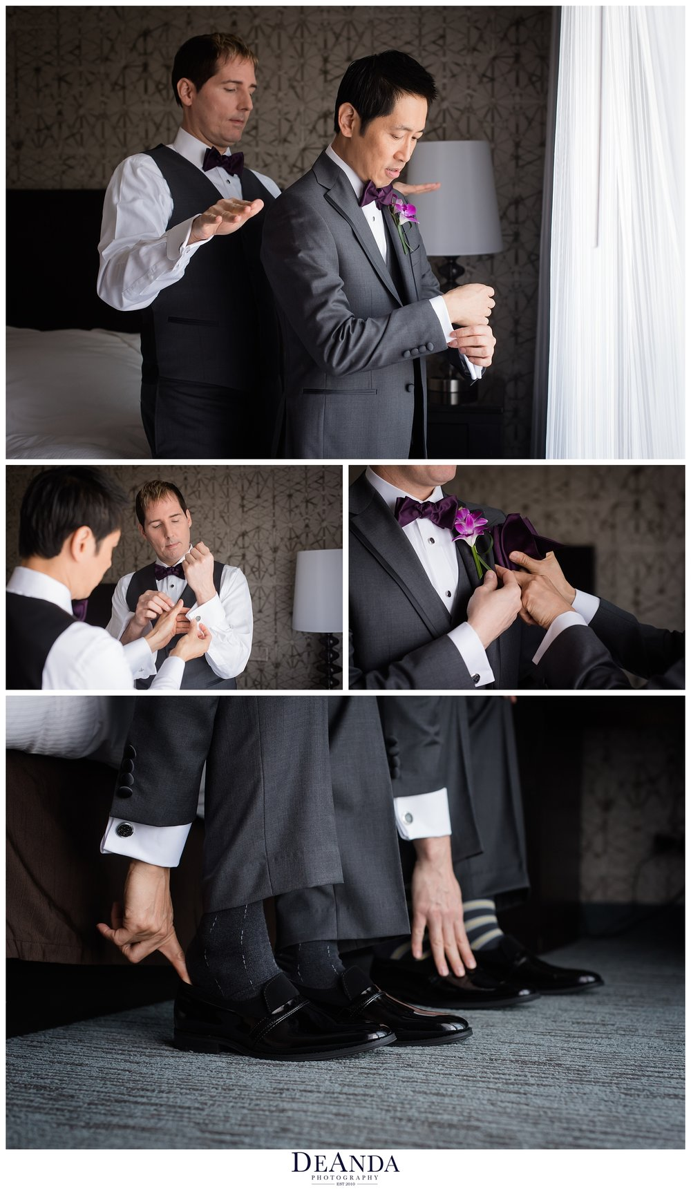 getting ready to be married, two grooms