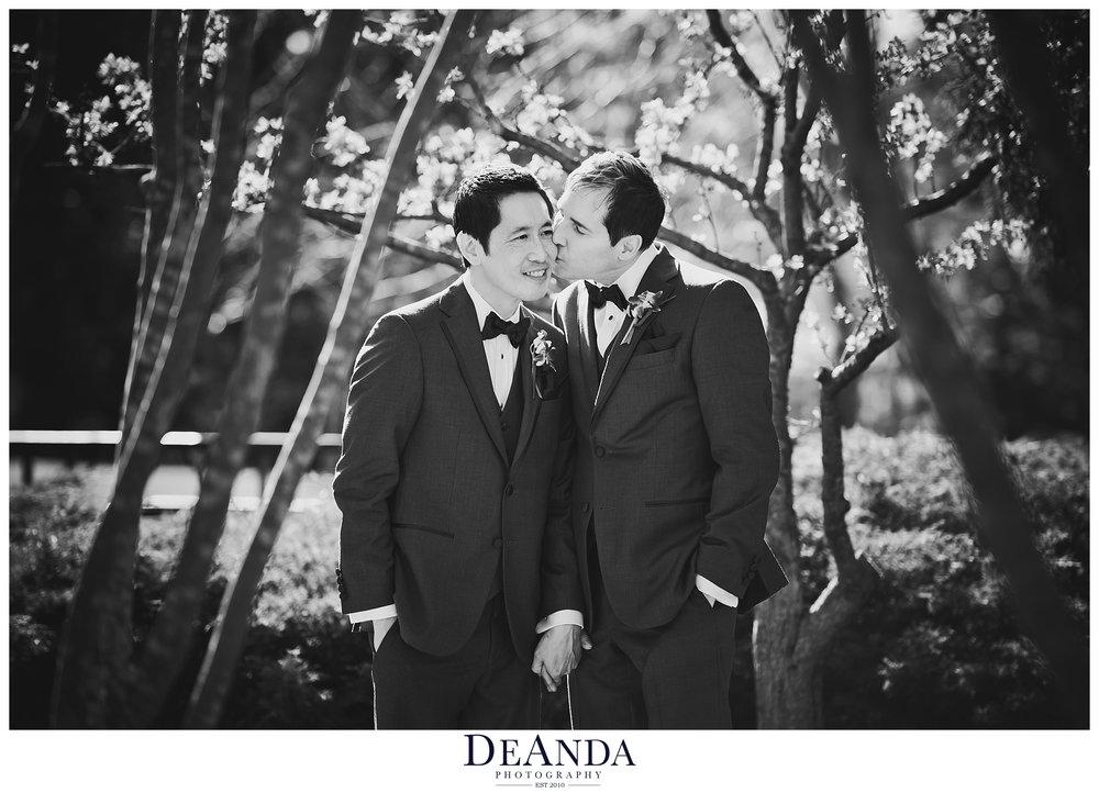 same sex couple on wedding day kissing