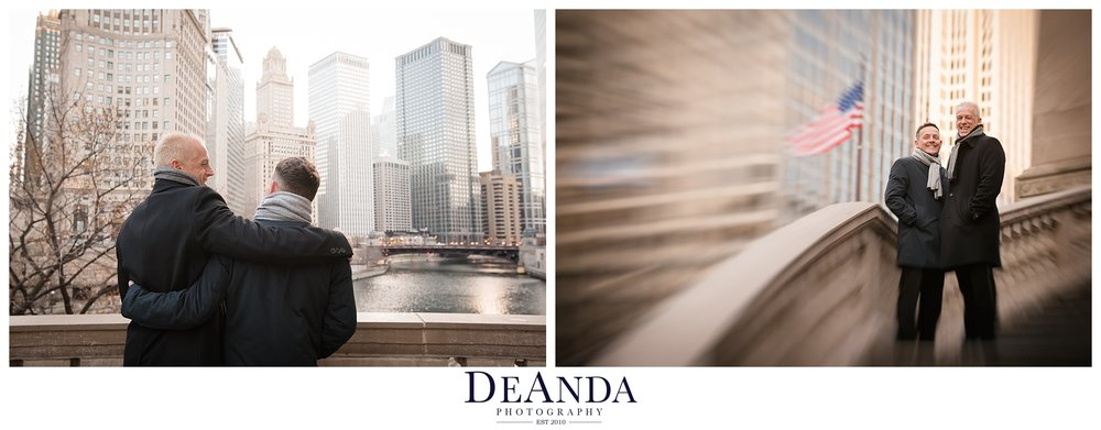 chicago riverwalk groom portraits