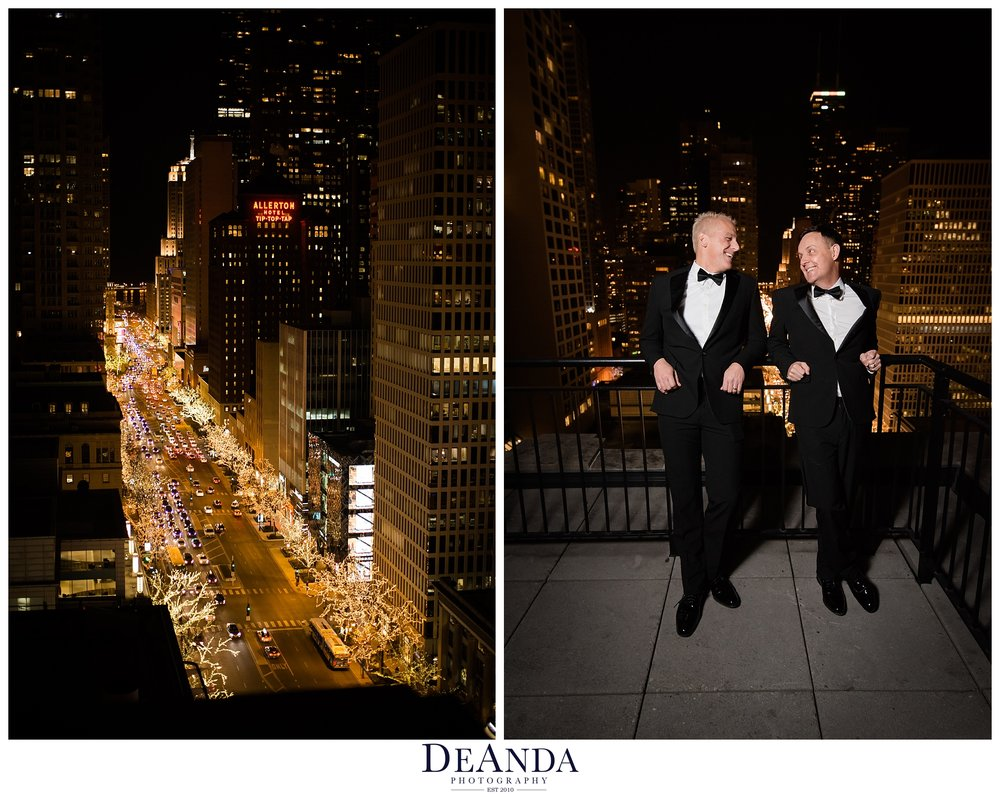 night time photography of same sex wedding with chicago lights in the background