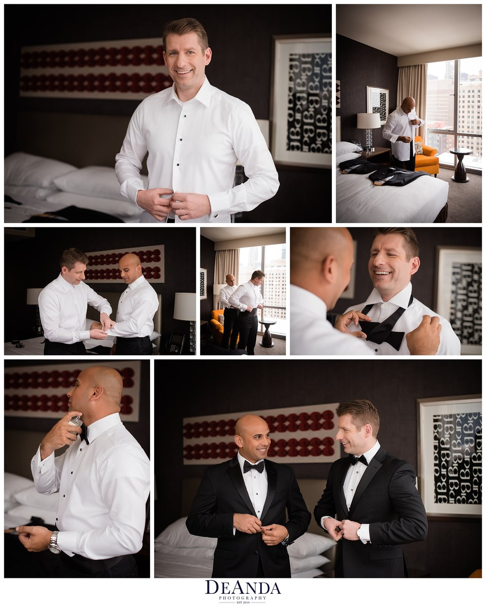 two grooms getting ready for their wedding at the wit hotel chicago