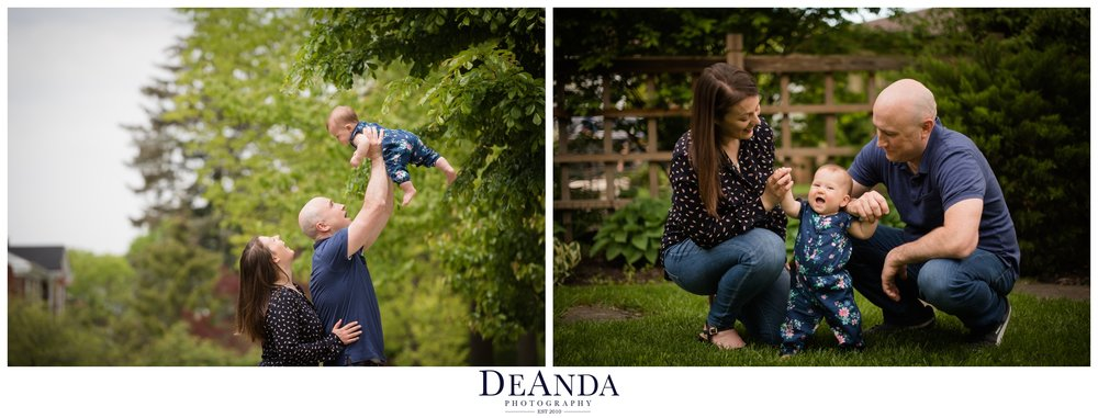 6 month old lifestyle portraits outside western springs