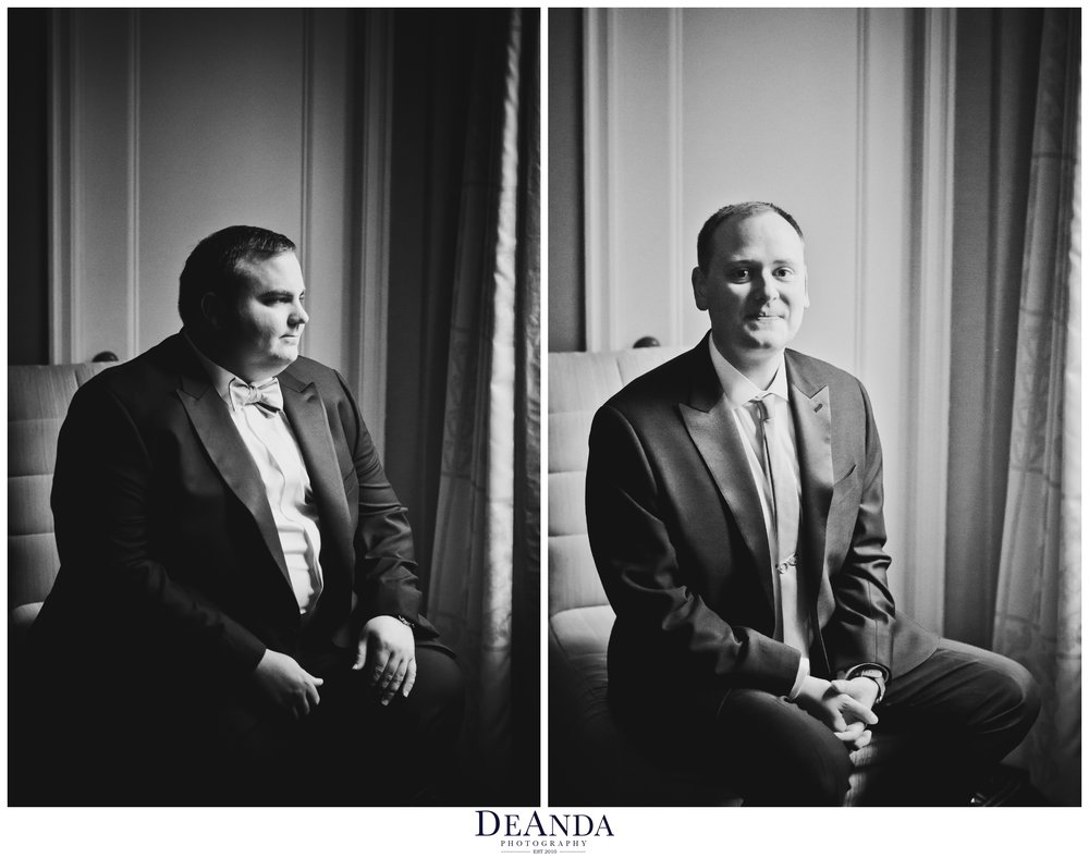 grooms portraits on wedding day at palmer house hotel in chicago