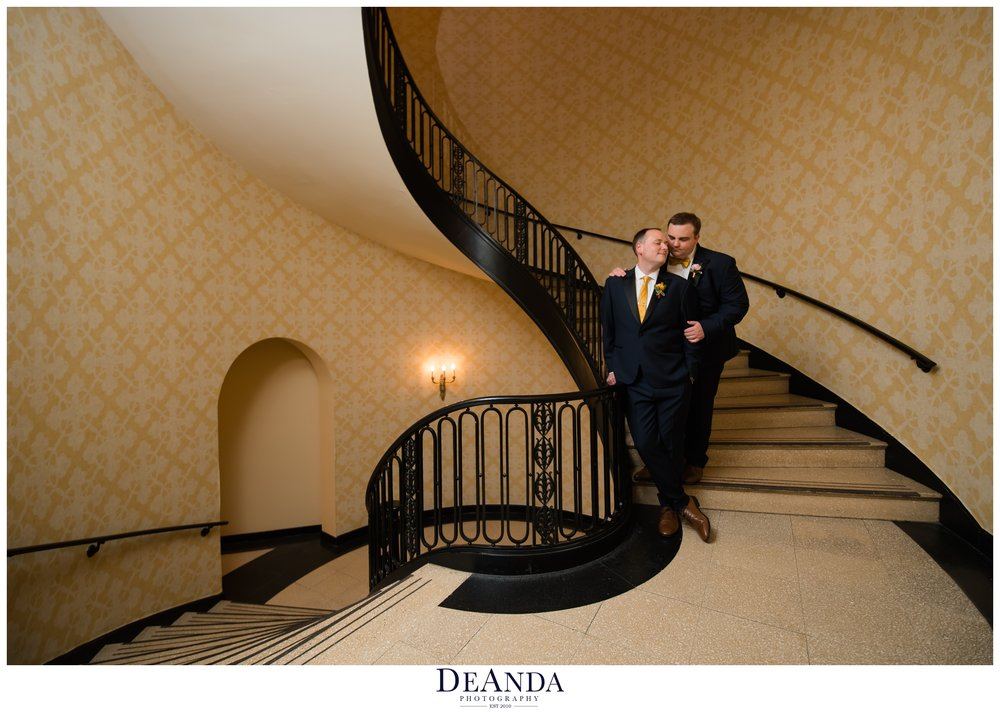 same sex couple wedding day photos in chicago hotel
