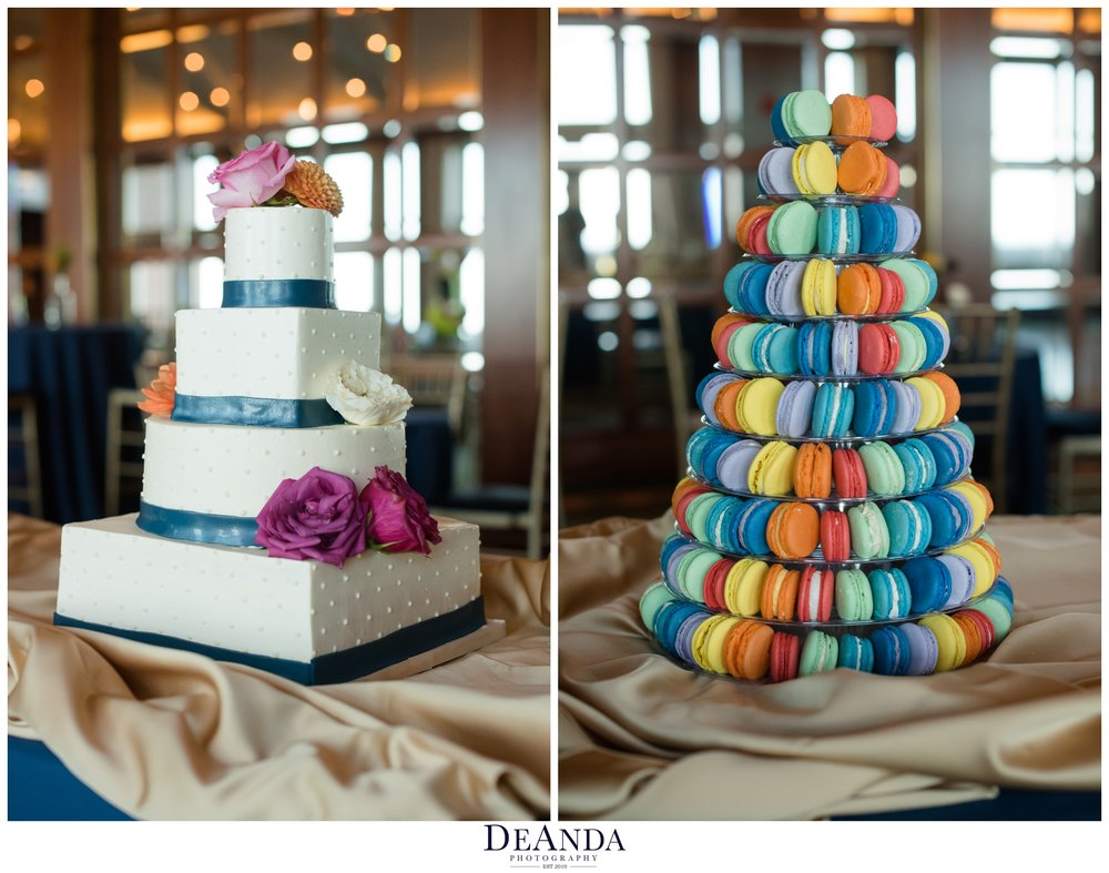 rainbow macaroon tower and cake for wedding