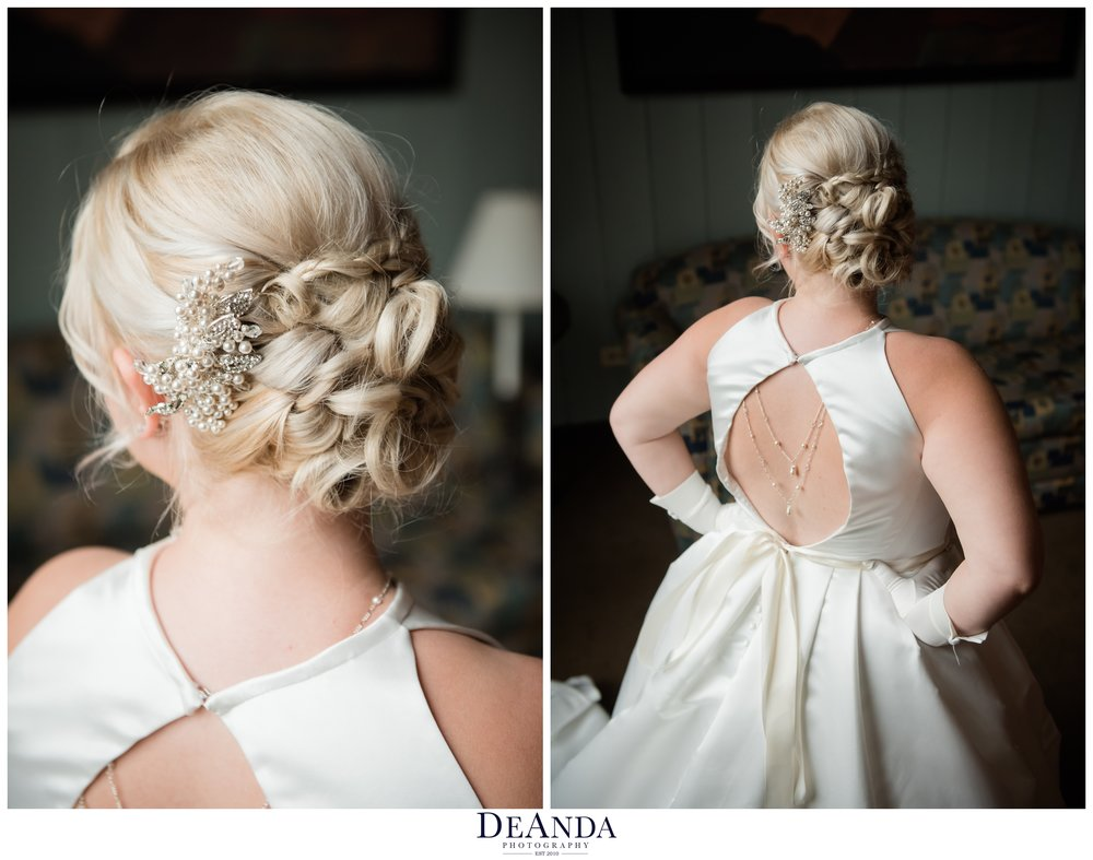 brides hair and back of her dress