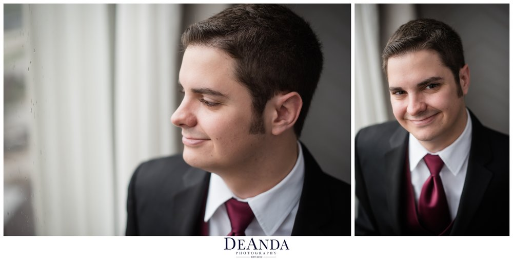 grooms portraits Pheasant Run Resort in St.Charles Illinois