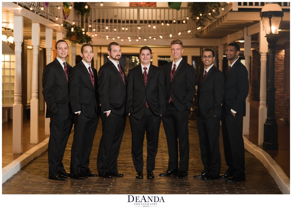 groom with his groomsmen at Pheasant Run Resort in St.Charles Illinois