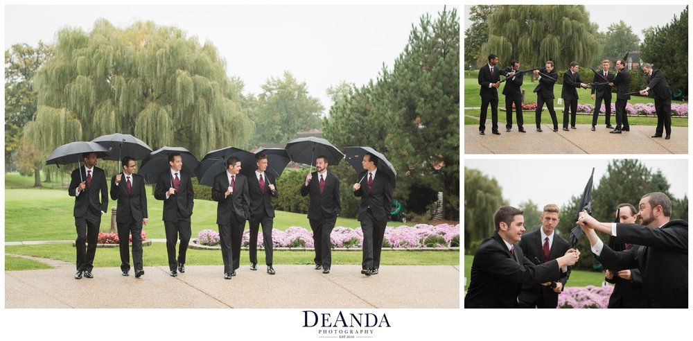 groomsmen with umbrellas as lightsabers