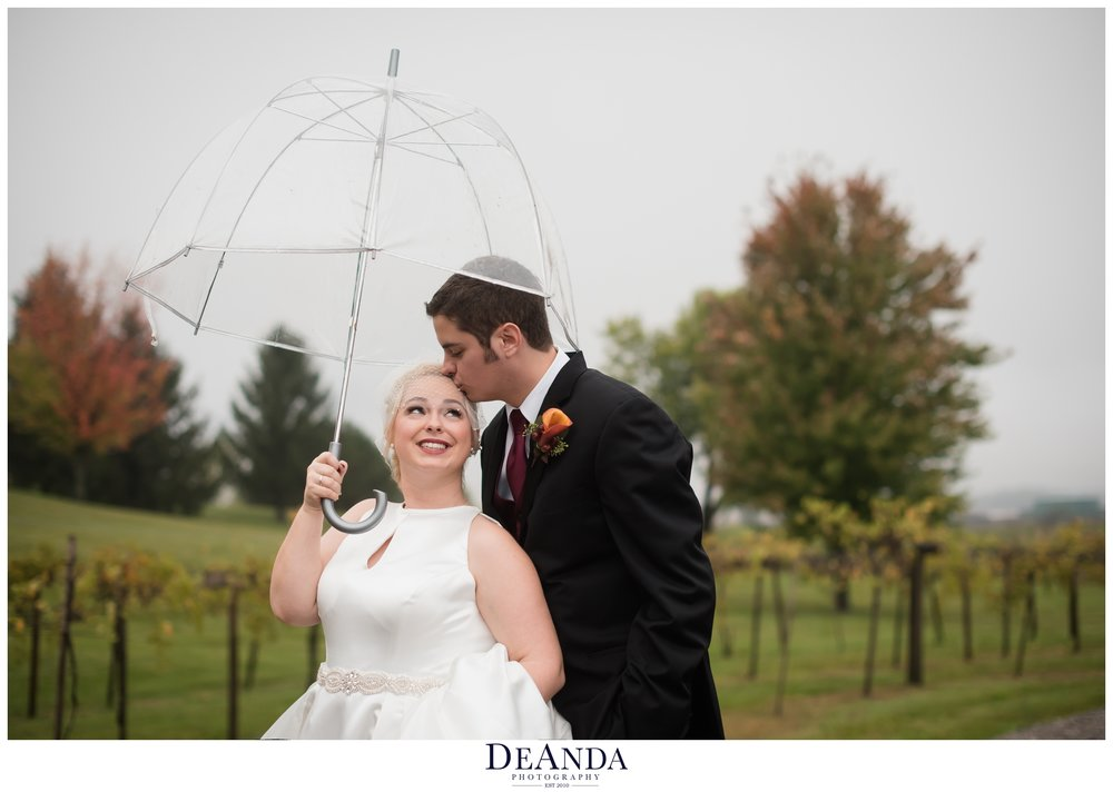 bride and groom under an umbrella at acquaviva winery in maple park