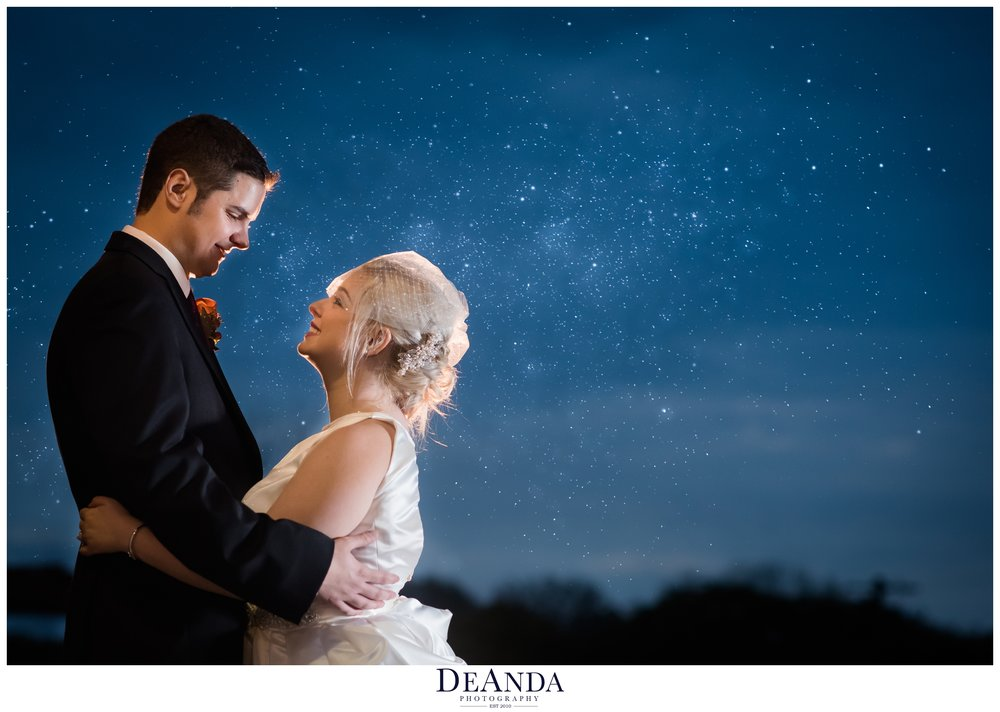 bride and groom at night with stars acquaviva winery in maple park