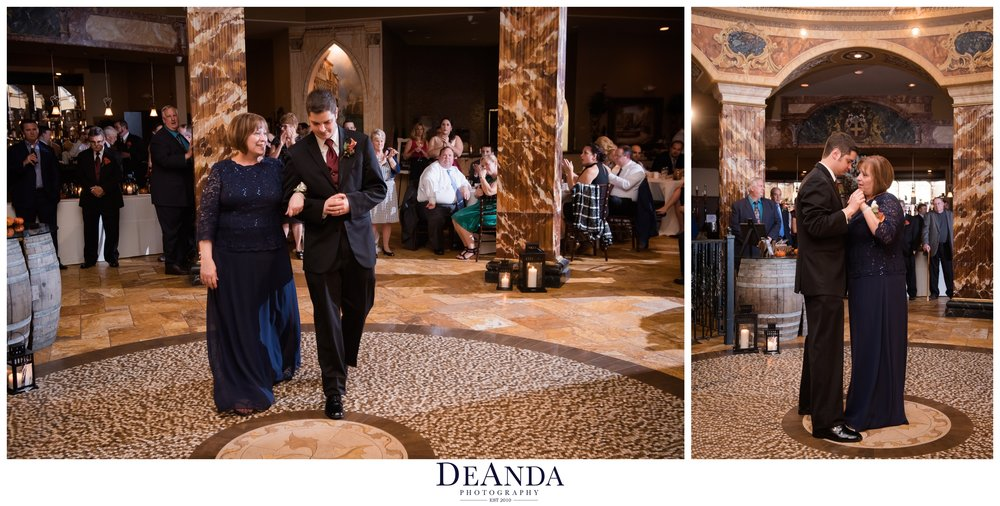 son and mother dance at acquaviva winery in maple park