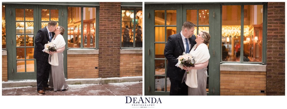 snowing portraits of bride and groom in ivy room courtyard