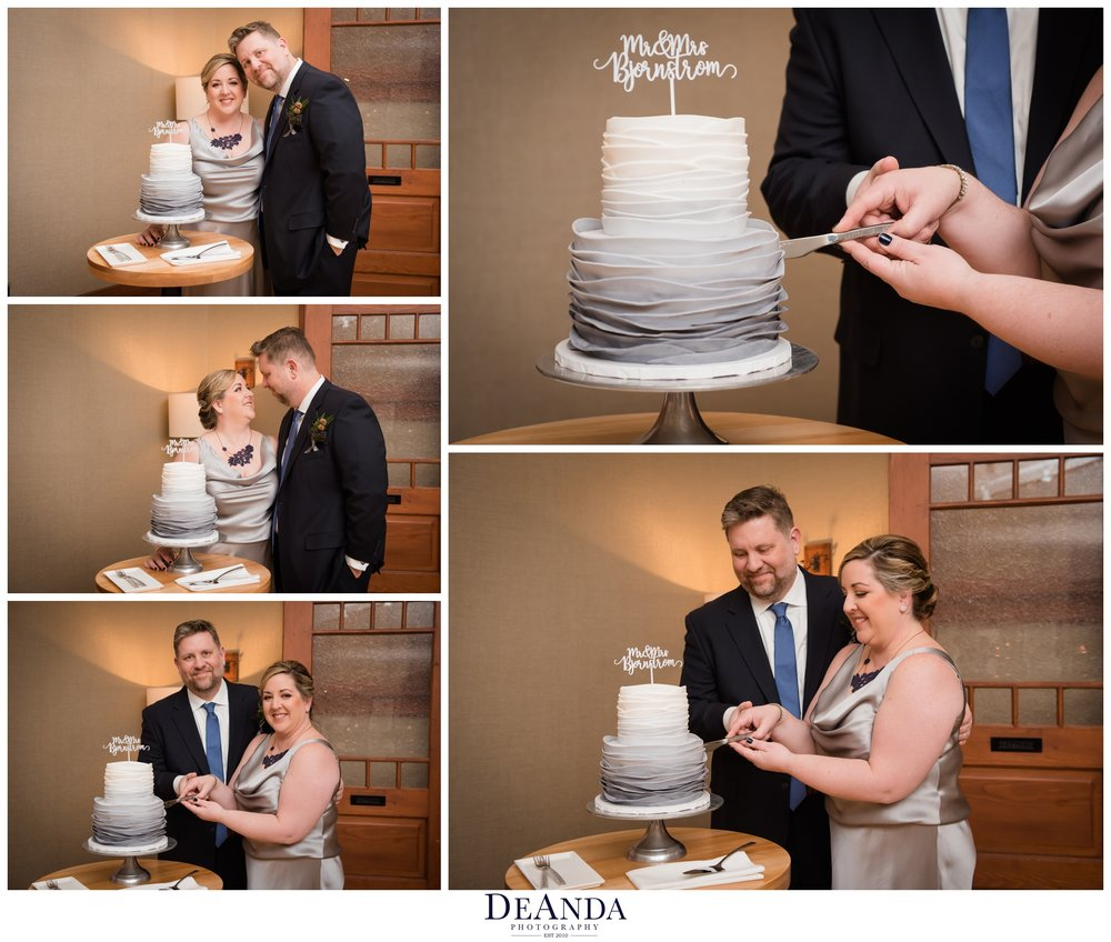 cake cutting at tree studio dining room in Chicago
