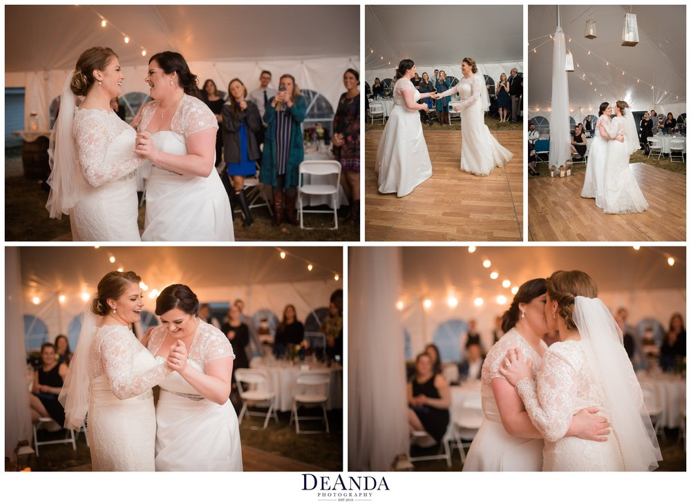 two brides having their first dance near chicago in a tent wedding