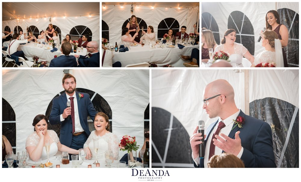 people giving speeches at same sex wedding