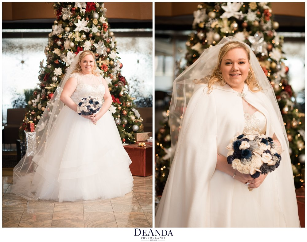 bridal portrait in front of christmas tree