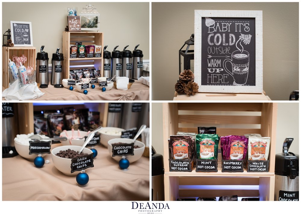 hot coco station at winter wedding
