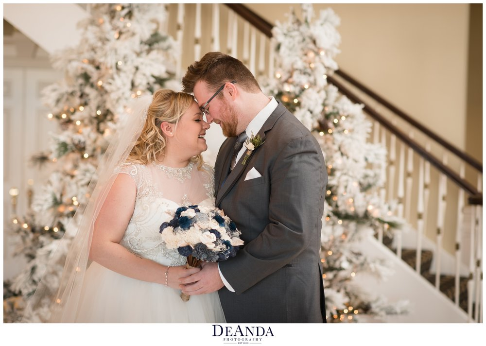 winter wedding portrait at tuscany falls in mokena