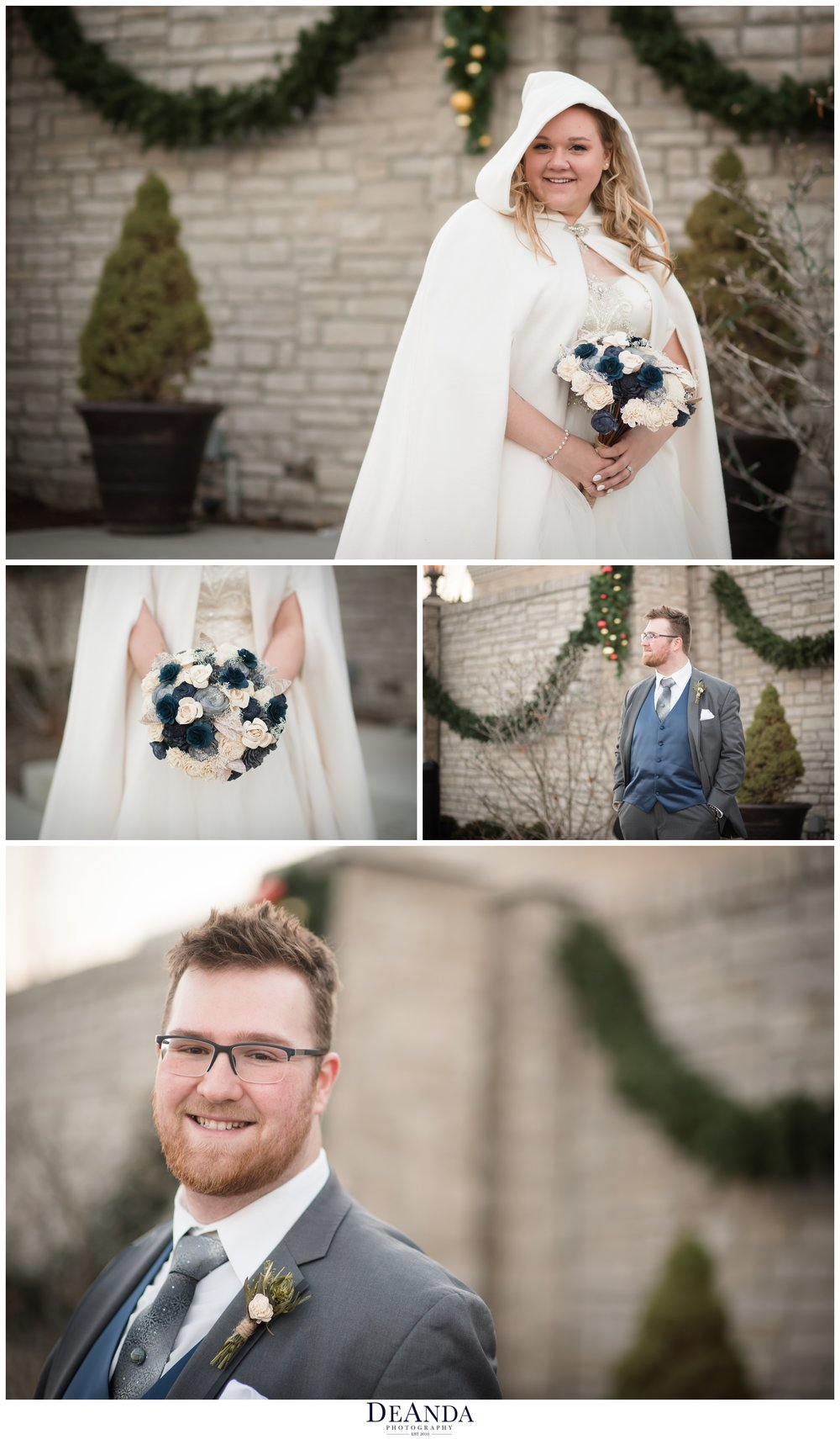 winter wedding portraits in mokena