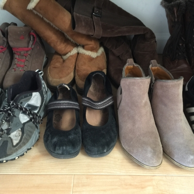 My fall/winter shoes.  The sandals and 2 pairs of high heels live on an upper shelf until summer.
