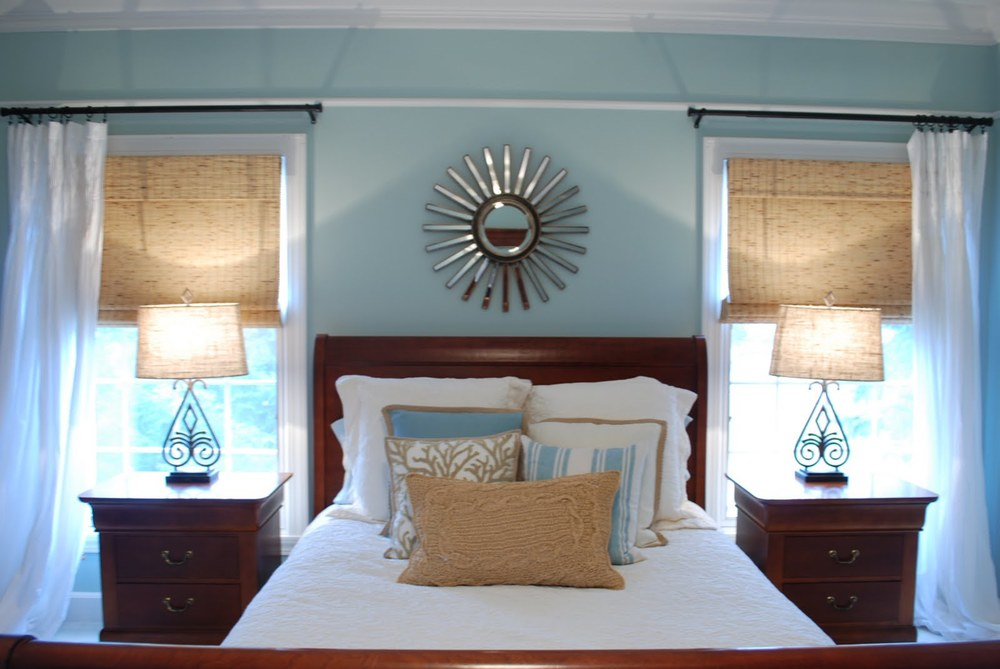 Shades of blue paint colors elizabeth burns design for Bedroom ideas for light wood furniture