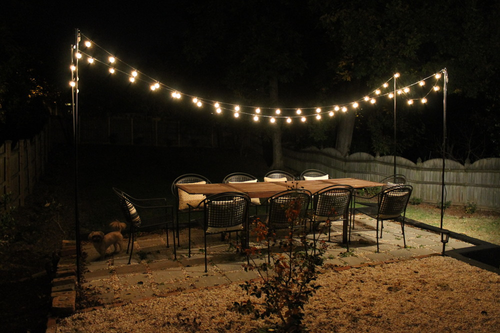 DIY String Light Patio Brooklyn House Elizabeth Burns Design, Raleigh NC Interior Designer