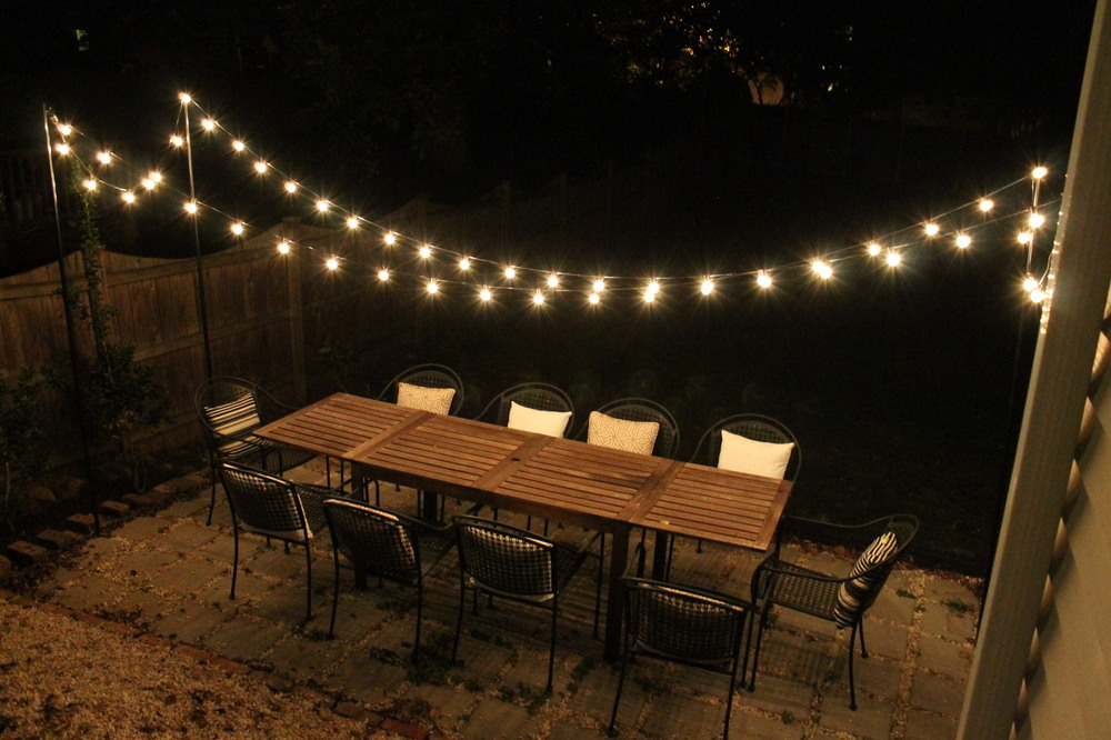 DIY String Light Patio : Brooklyn House u2014 Elizabeth Burns Design, Raleigh NC Interior Designer