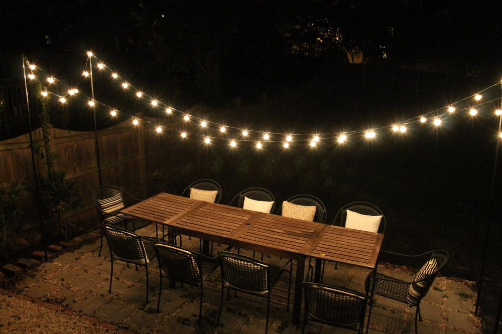 DIY BACKYARD STRING LIGHTS