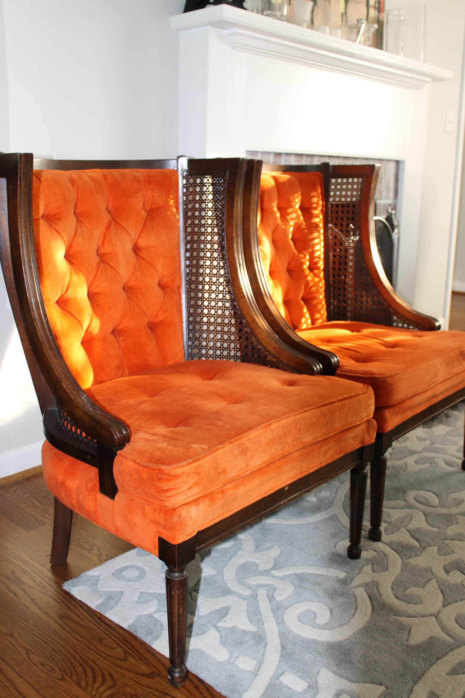 Tufted Orange Cane Wingback Chairs Vintage Furniture Elizabeth Burns Design Raleigh Nc Interior Designer